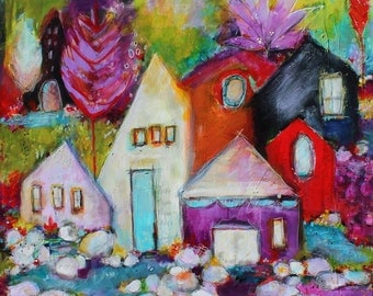 Where There Is Peace There Is Comfort 24 x 24  Funky Cottage original acrylic painting by Jodi Ohl