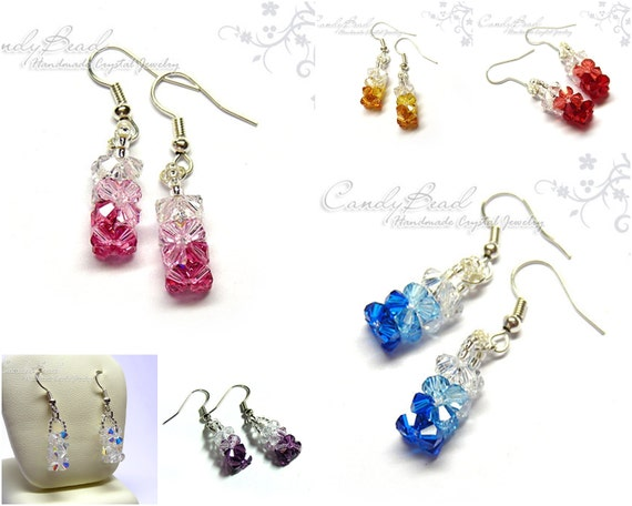 Crystal Earrings, Color Shade Swarovski Crystal Earrings--very charming (E023-07)