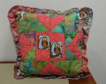 quilted owl patchwork pillow ready to ship