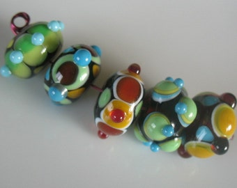Lampwork Beads-Handmade Lampwork beads-Set of five large lampwork beads