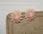 vintage pink  Celluloid clips  clip earrings