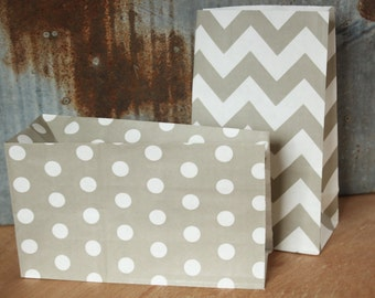 12 Grey Paper Bags -- 5X9 -- Standing Bags -- Party Favor Bags -- Goody Bags -- Gift Bags -- dots, chevron