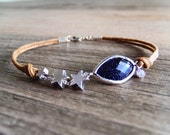 Constellation Jewelry Bracelet - Blue Goldstone - Silver Star Charms - Starry Night - Shooting Star - Brown Cord - Dark Blue - Gift for Her
