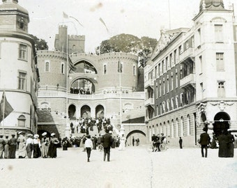 vintage photo Helsingborg Sweden  Sverige Albumen 1910 Kärnan, an old watchtower
