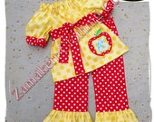 Girl Back To School Clothing Outfit Pageant 24 MONTH SIZE 2T 3T 4T 5T 6 7 8 Apple Worm 1st day of Kindergarten Preschool Top Pant Set