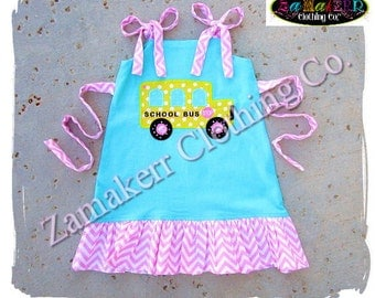 Girl Back To School BUS Clothing Dress Outfit SIZE 2t 3t 4t 5t 6 7 8 t 24 MONTH Blue Yellow Pageant 1st day of Kindergarten Preschool Set