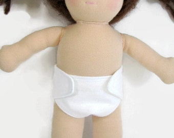 Two Doll Diapers for your 10 to 12 inch doll, your choice of colors, Waldorf doll diapers, free shipping on additional items