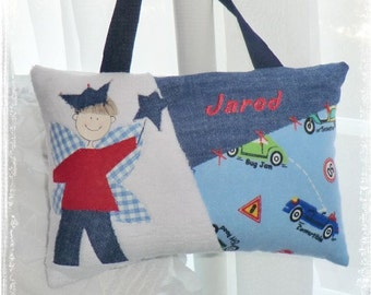 Personalized Cars and Trucks Tooth Fairy Pillow with Hand Painted Fairy