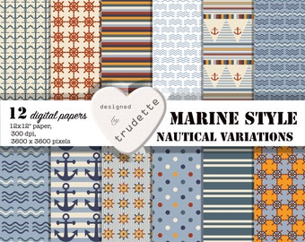 Marine Style, Digital Paper Pack, Anchors, Flags, Waves, Polka-Dot, nautical colors, scrapbooking, background, commercial use, school supply