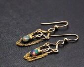 Petite Wanda Earrings - Blue Opal and Gold Filled Earrings