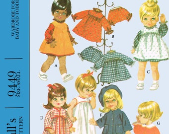 Vintage 1960's McCall's 9449 Doll sewing Pattern - 12 to 16 inch - Angel Baby, Little Huggums, baby dear - PDF