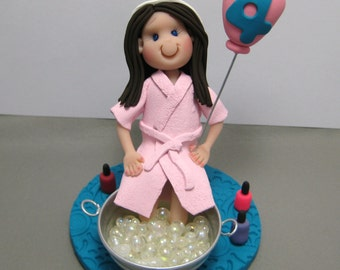 Girls Pampered Nails Spa party polymer clay Cake Topper decoration Custom made to Order