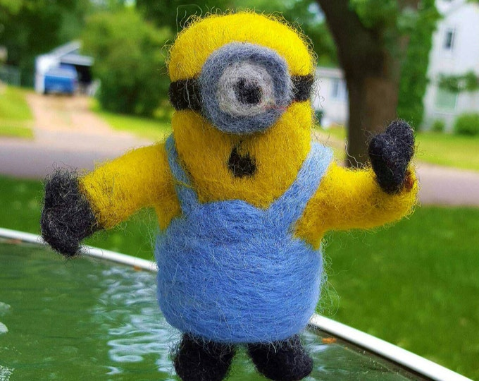 Minion needle felted collectible unique doll
