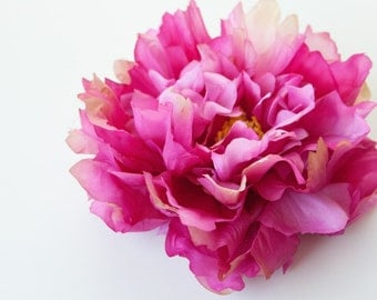 EXTRA LARGE Fuchsia Pink Peony - 7 inches -- Artificial Silk Flower - ITEM 0231