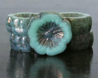 Turquoise Green Czech Glass Picasso Hawaiian 14mm Flower Beads : 6 pc Green Pansy Flower