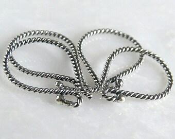Bali Sterling Silver 17mm Twist Earwire : 2 Pair Silver Ear Wires