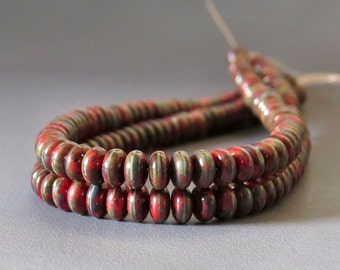 4mm Red Picasso Czech Glass Bead Rondelle Spacer : 100 pc Opaque Red 4mm Rondelle Beads
