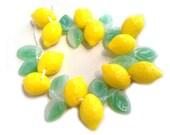 Lemon Fruit Beads w Leaf Czech Glass Great for Charms Jewelry Making