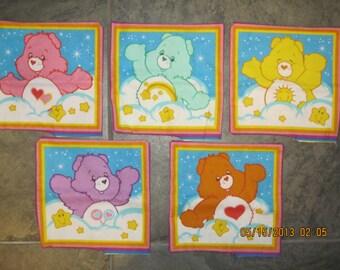 Mini Care Bear Pillows (all 5) Unstuffed Embroiderable Love a Lot Bear, Wish Bear, Funshine Bear, Share Bear & Tenderheart Bear -15% Off *