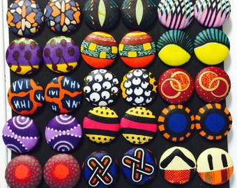 HOLIDAY SALES- Large Ankara Button Earrings