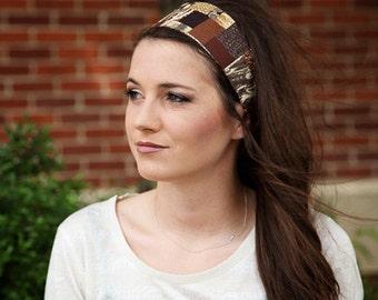 Brown Headband, Brown Head Band, Womens Brown Headband, Womens Brown Head Band, Patchwork Print Headband, Wide Cloth Headband Womens