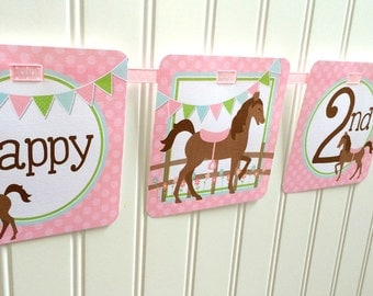 Pony Happy Birthday Banner for Girls / Pink Horse Birthday Party Banner / Personalized with Name and Age