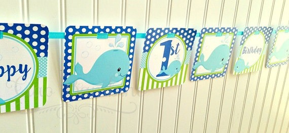 Whale Happy Birthday Banner / Personalized with Name and Age / Royal Blue, Lime Green and Aqua Blue - 0024