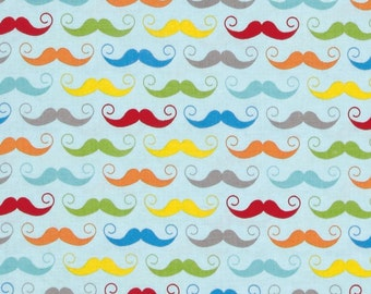 GEEKY MUSTACHES  Fabric by the yard colorful mustaches on light blue print cotton