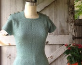 RESERVED 1940s aqua knit top 40s fitted sweater with sliver lurex size medium Vintage sweater girl top