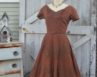 1950s brown taffeta dress 50s dress with full skirt size medium Vintage Parnes Feinstein party dress