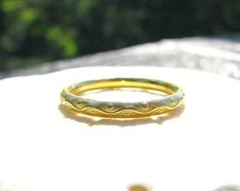 Vintage Gold Wedding Band, Stacking Ring, Solid 18K Gold, Lovely Eternity Design, Softly Brushed Finish