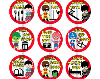 "1"" Inch Superheros Daily Chores Magnets, Pins, or Flatback Buttons 15 Ct."