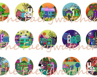One Inch Tiny Village Flatbacks, Pins or Magnets 12ct.