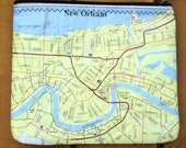 Upcycled Recycled Map Zipper Pouch New Orleans Louisiana