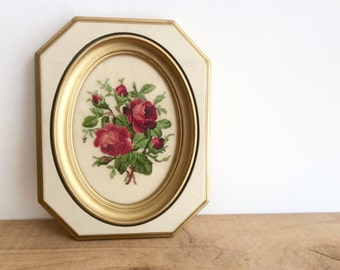Petit Point Roses Framed Embroidery, Vintage Embroidered Flowers in Cream and Gold Wood Frame, Pink Roses Framed Needlepoint Cottage Decor.