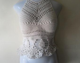 Crochet halter top, WHITE crochet top, White halter top, festival clothing, beachcover up, gyspy, boho bohemian, carnival,