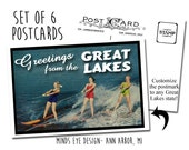 Greetings from the Great Lakes- Water Skiing Bathing Beauties POSTCARDS
