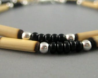 Mens Beaded Necklace, Bamboo and Sterling, Ethnic Necklace, Native American Jewelry, Mens Accesories, Rustic Jewelry, Southwest design