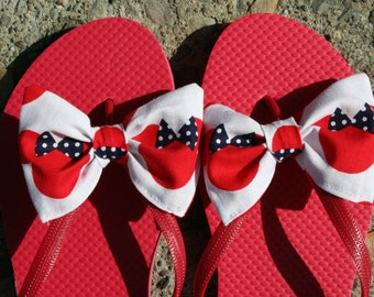 Disney inspired Minnie Mouse Flip Flop Sandals Licensed fabric handmade to your shoe size