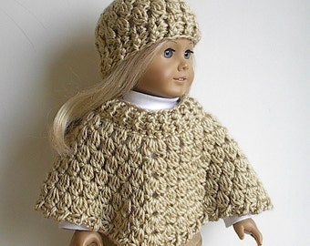 18 Inch Doll Crocheted Tan Poncho and Hat handmade to fit the American Girl Doll