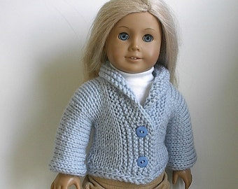 18 Inch Doll Clothes  Knit  Kimono Cardigan Sweater with Shawl Collar in Soft Blue handmade to fit the American Girl Doll Clothes