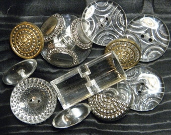 Vintage Clear Glass Buttons 1940s Pressed Assortment