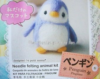 diy Needle felting kit - cute Penguin, with needle wool felt findings, easy, beginner, Japanese kawaii keychain charm craft gift  id1360228