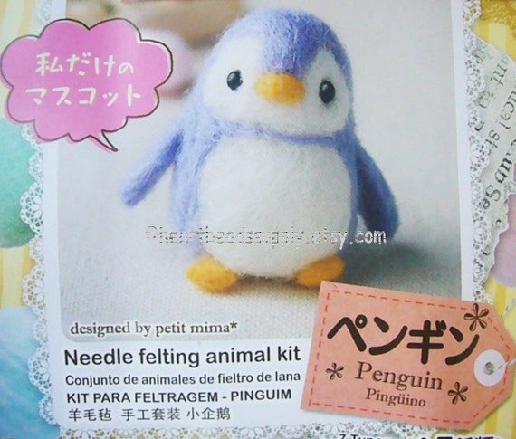 diy Needle felting kit cute Penguin with by HeartBeadsSupply