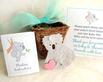 12 Koala Baby Shower Favors - Plantable Seed Paper Koalas and Pots - Zoo Wedding Favors - Birthday Party Planter Kit