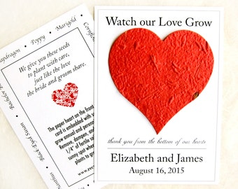 100 Watch Our Love Grow Plantable Heart Wedding Favors - Flower Seed Paper Favors - Thank You from Bottom of our Hearts Favor Cards