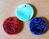 3 Ceramic beads - Om beads in Blues and Purples Colors