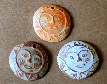 3 Handmade ceramic beads - Sun Beads in neutral, rust, and orange