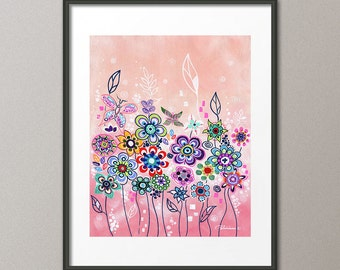Gallery Canvas and Fine Art Prints Pink Colorful Whimsical Garden Flowers Landscape Elena