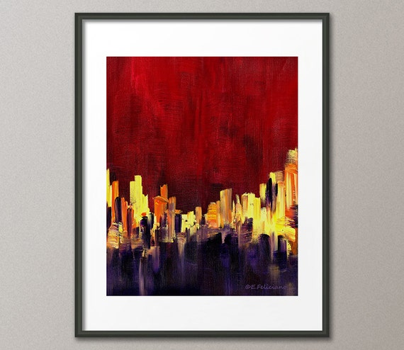 Art Print Red Purple Yellow Abstract Modern Contemporary Conceptual Posters and Prints Elena